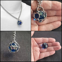 Blue Earth Sphere in Chainmaille Cage w/Necklace