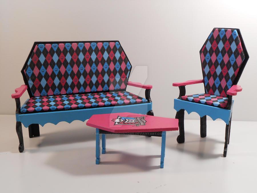 Monster High Furniture Argyle Print Living Room By Monsterminicustoms On Deviantart
