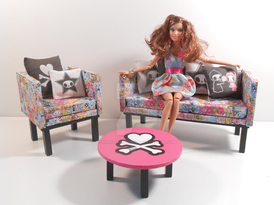 Barbie furniture tokidoki living room set 2 by for Barbie living room furniture set
