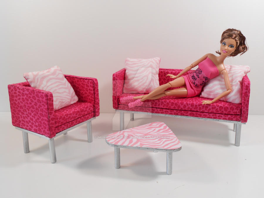 Barbie furniture animal print living room set by for Barbie living room furniture set