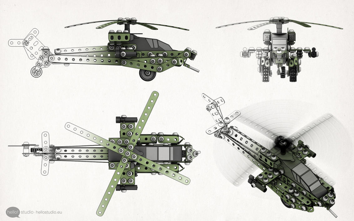 AH64 technical illustration by zipper