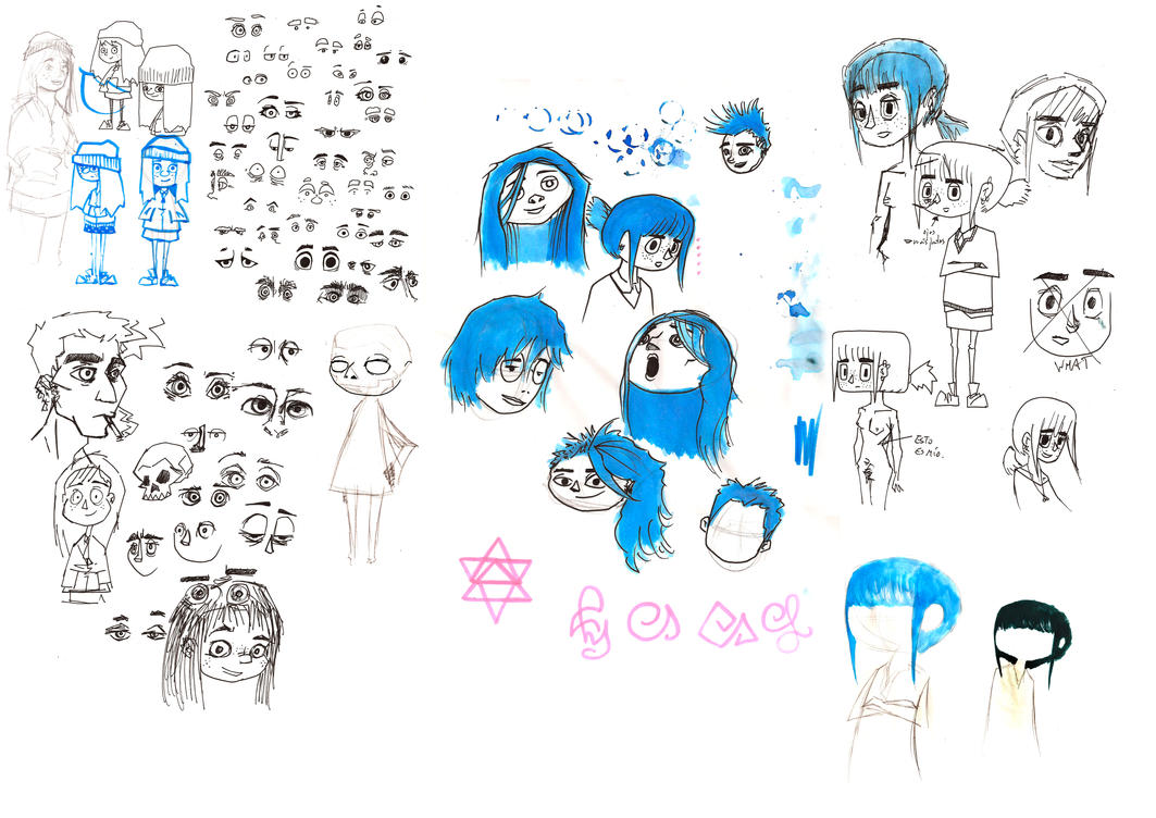 Sketches from the blue haired girl by Comepacmans