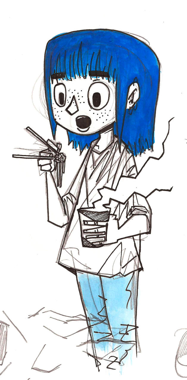 The blue haired girl eating some noodles by Comepacmans