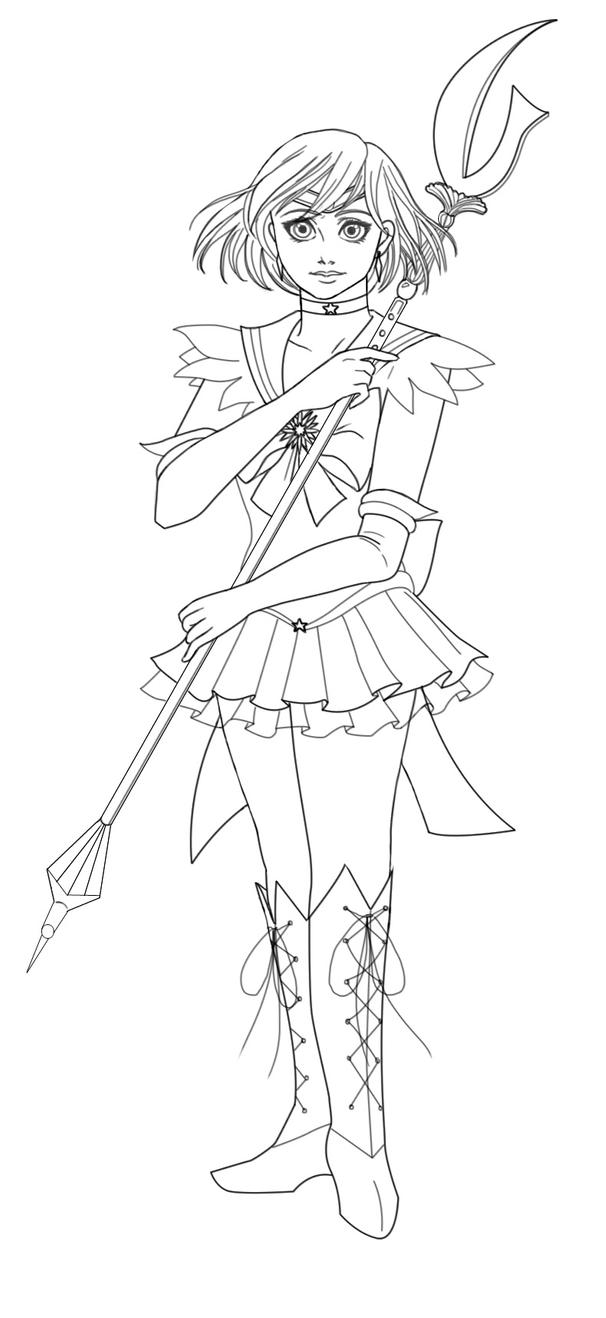 Sailor saturn lineart by monoclebunny on deviantart for Saturn coloring pages