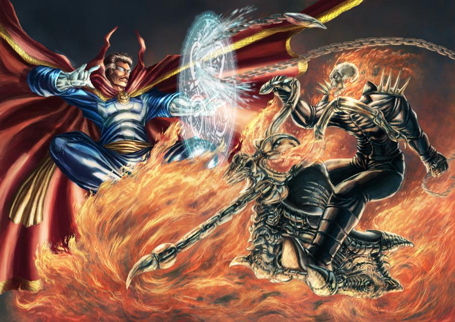 Ghost Rider vs Dr Strange by cric