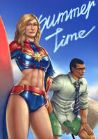 Carol Danvers and Nick Fury Summertime by cric