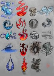 elemental symbols designs by Crishi