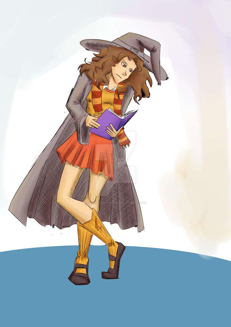 Hermione reading by sonadora100