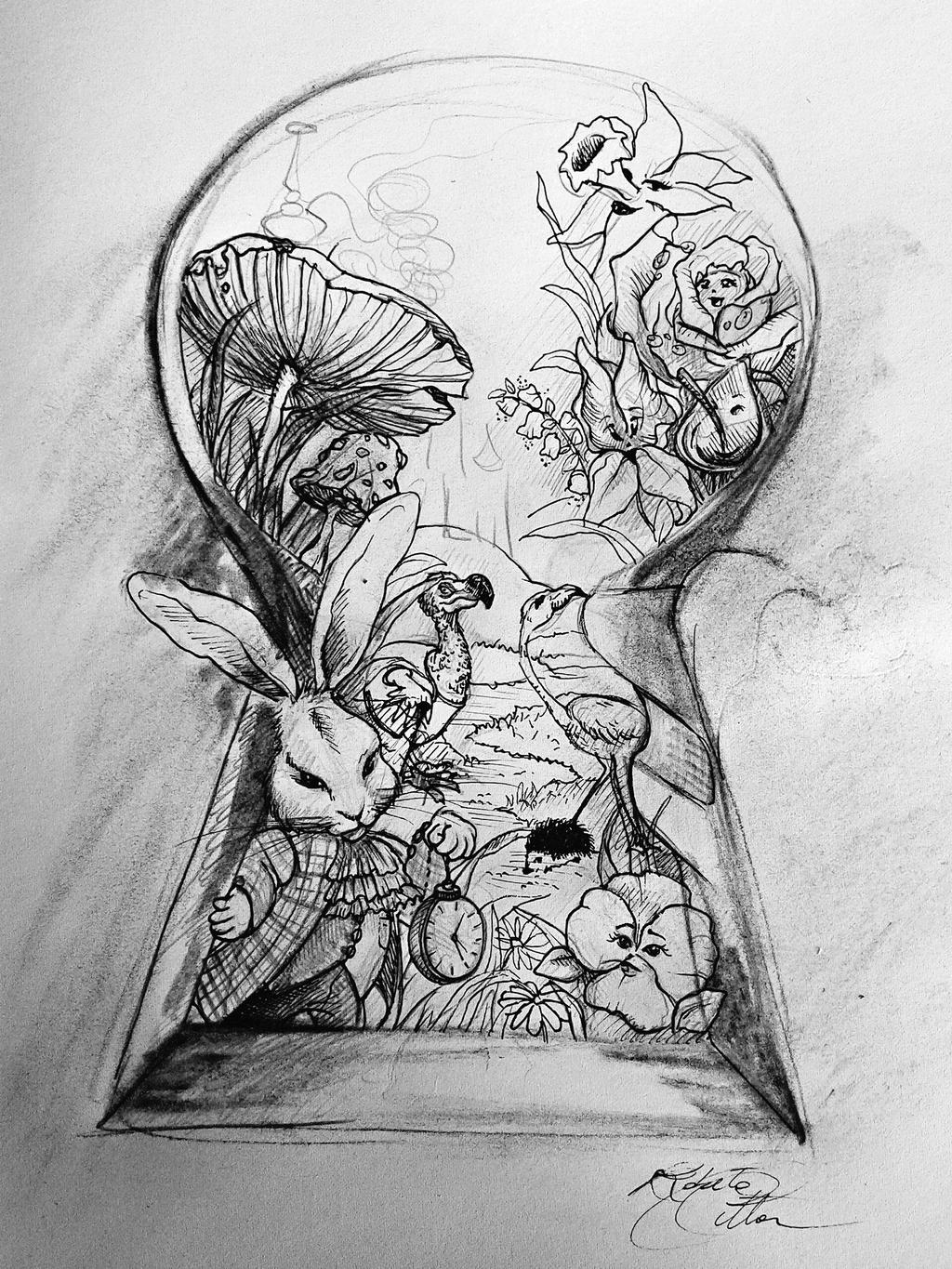 sketch mural alice in wonderland i by pssicolabile on