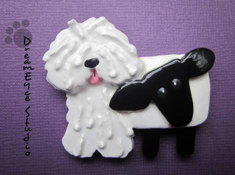 White Puli with a Sheep DreamEyce Studio Brooch