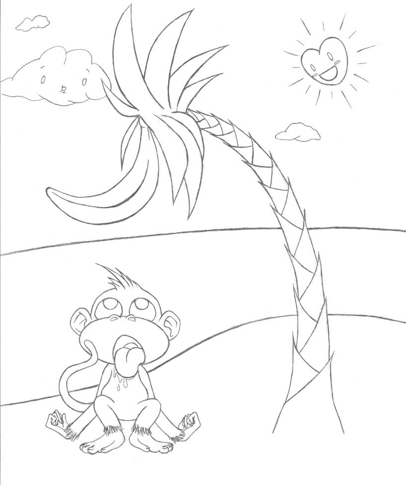 banana tree coloring page - banana tree outline by monkehranch on deviantart