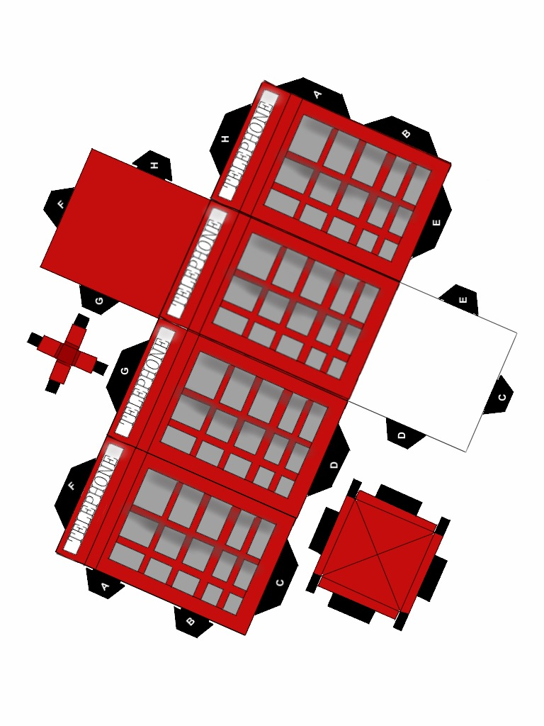 british telephone booth papercraft by animeecutie on