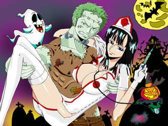 Zoro and Robin on Halloween by Michael1525