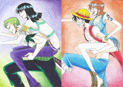 Zoro and  Robin VS  Luffy and Nami