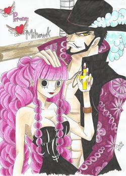 One Piece - Dracule Mihawk and Perona
