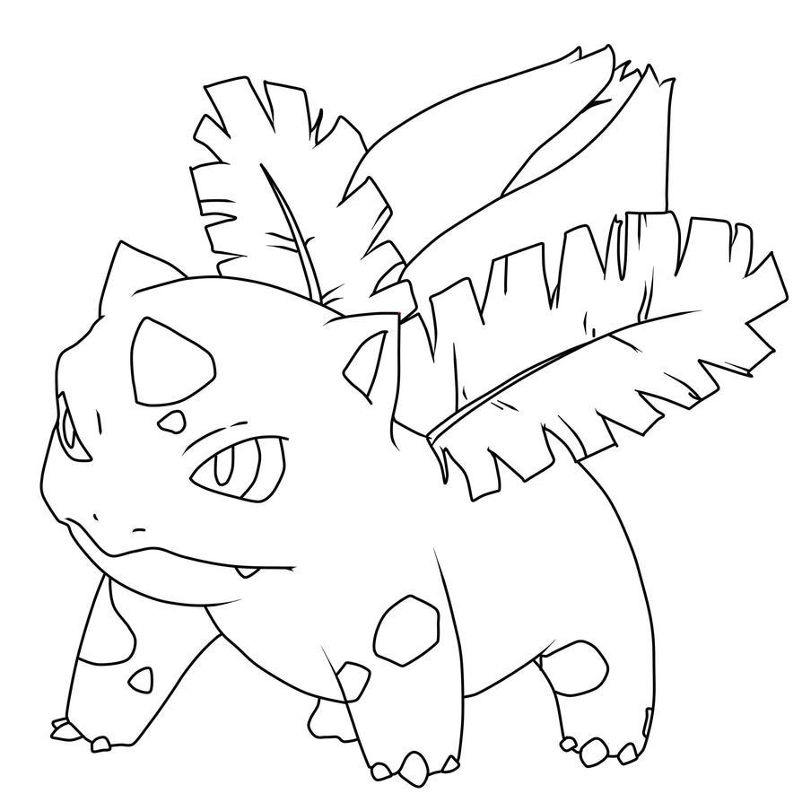 D Line Drawings Jobs : Ivysaur art line by inetal on deviantart