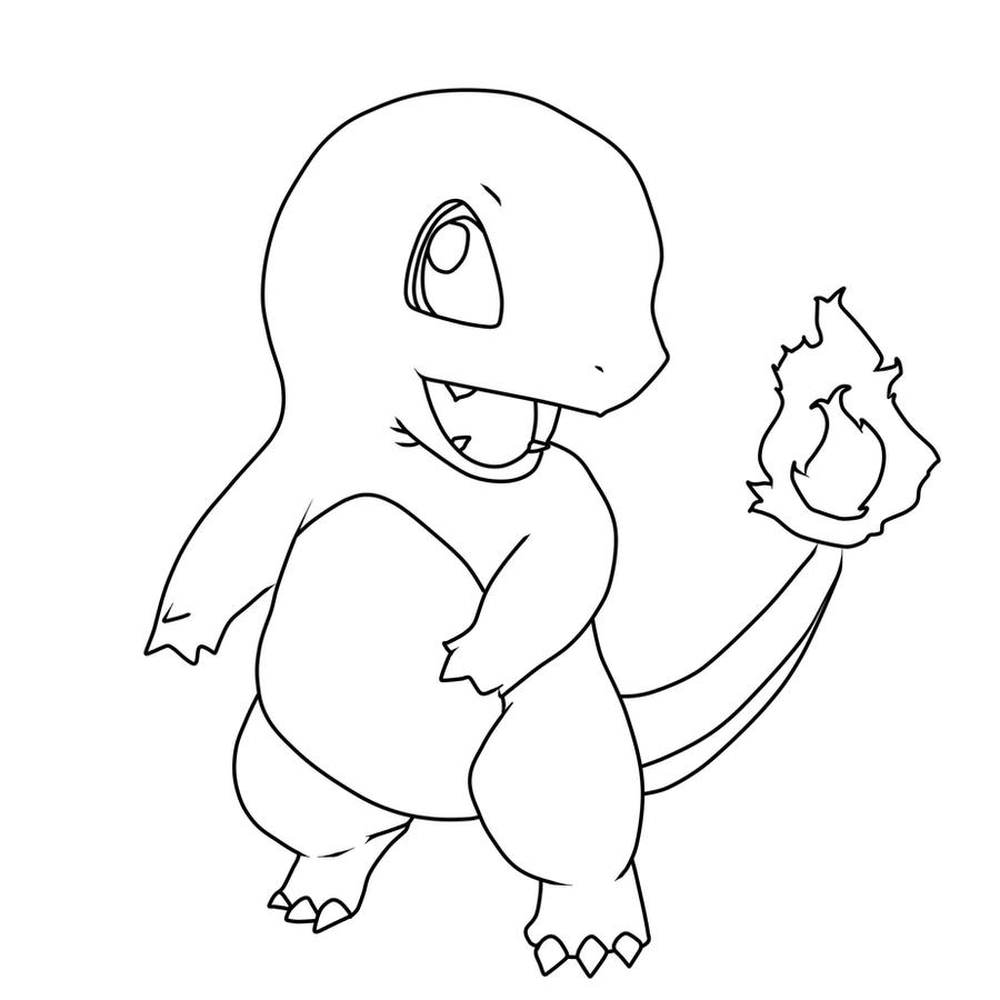 Charmander line art by inetal on deviantart for Charmander coloring page
