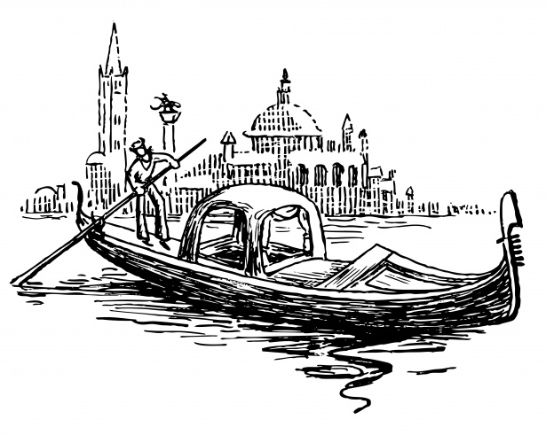 Gondola-in-venice-illustration by D-A-Skelly