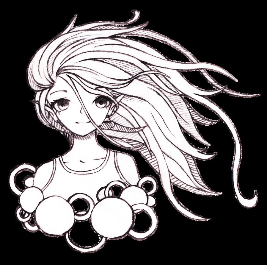 Pencil Drawn Anime Girl by LunaeLupus