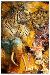Safari- Mixed Art. Acryl Pouring and Digital Art