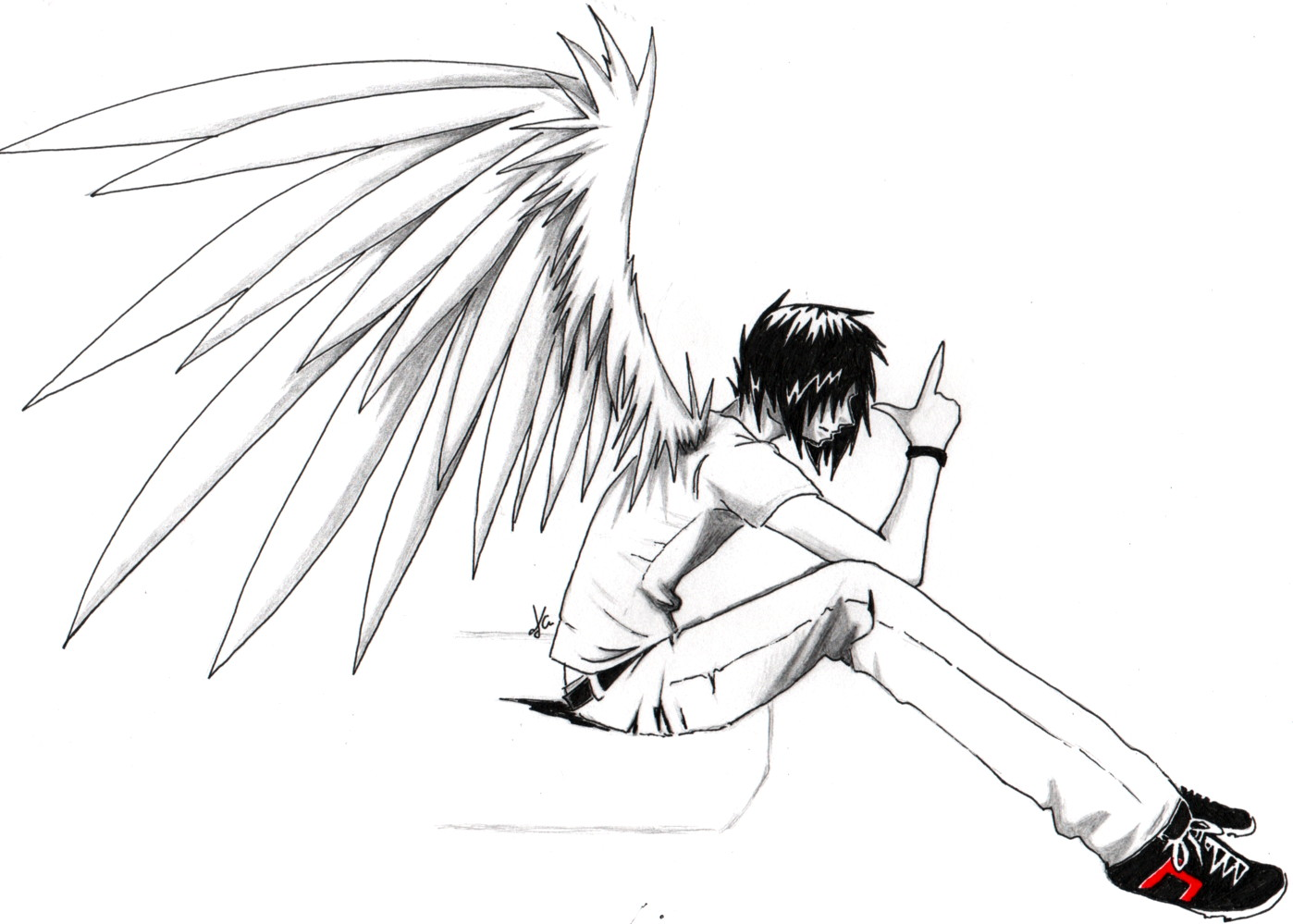 emo anime angel boy whoever drew this u003d epic by