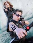 Black Widow and Hawkeye Cosplay