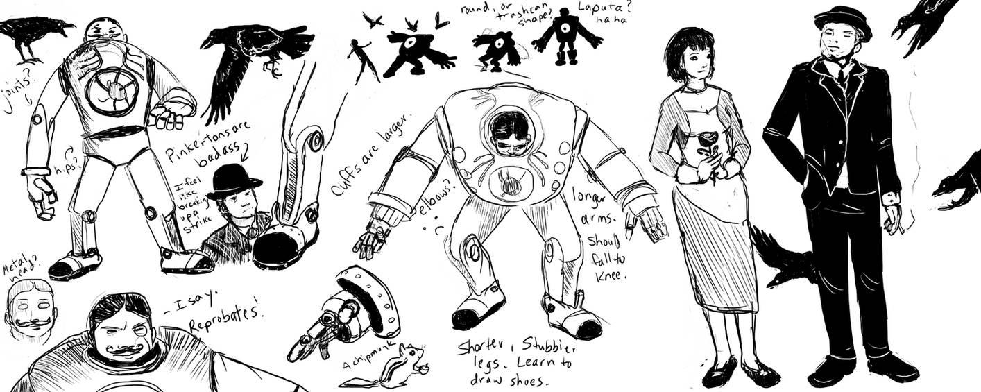 Bioshock Infinite Sketches by BriefLeaf