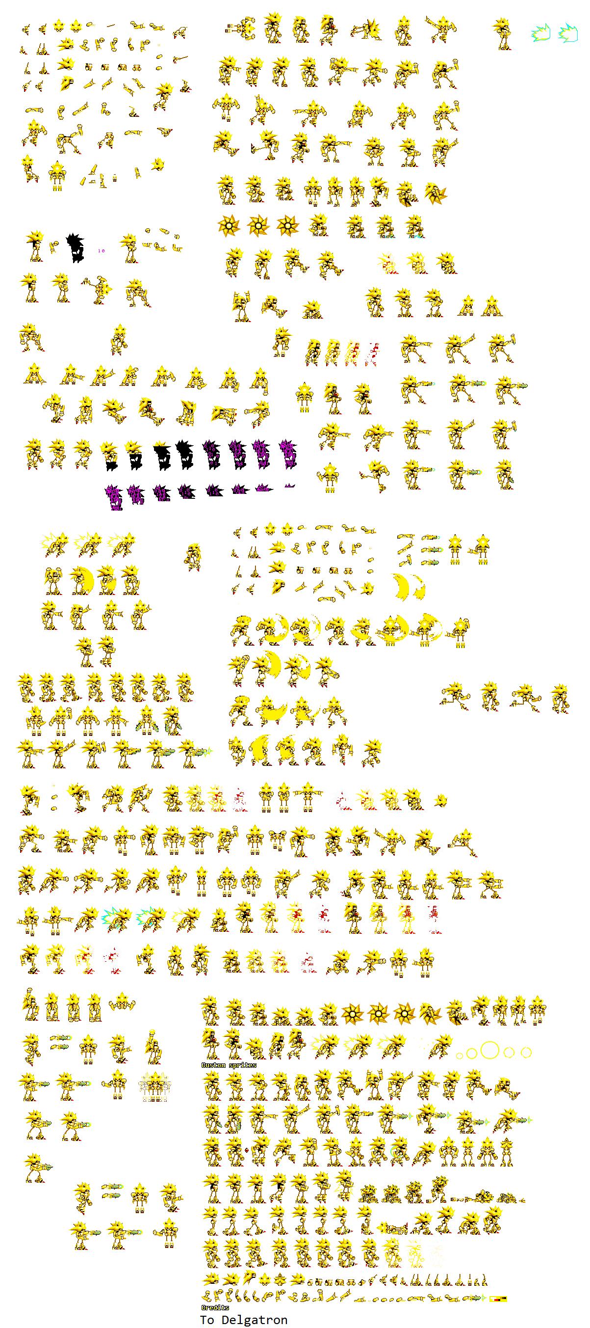 Super Mecha Sonic Sprite Sheet by DELGATRON on DeviantArt