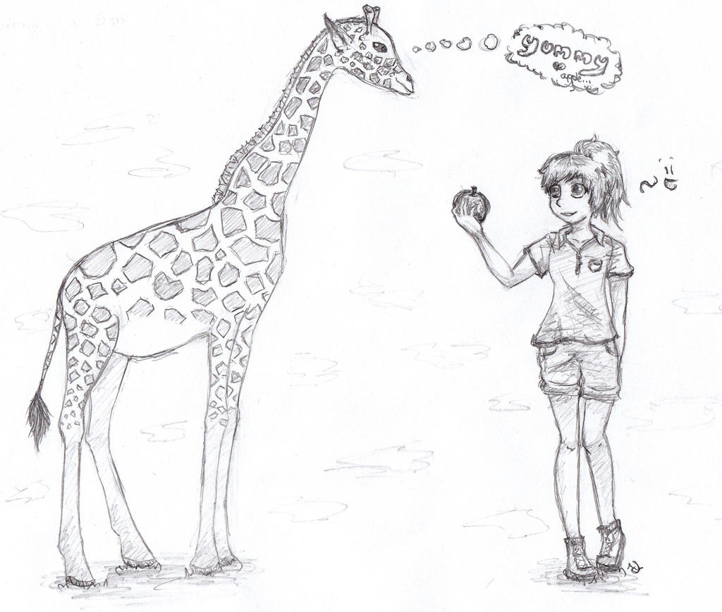 Artrade The girl and the giraffe xD by LuneDeLaNeige on DeviantArt