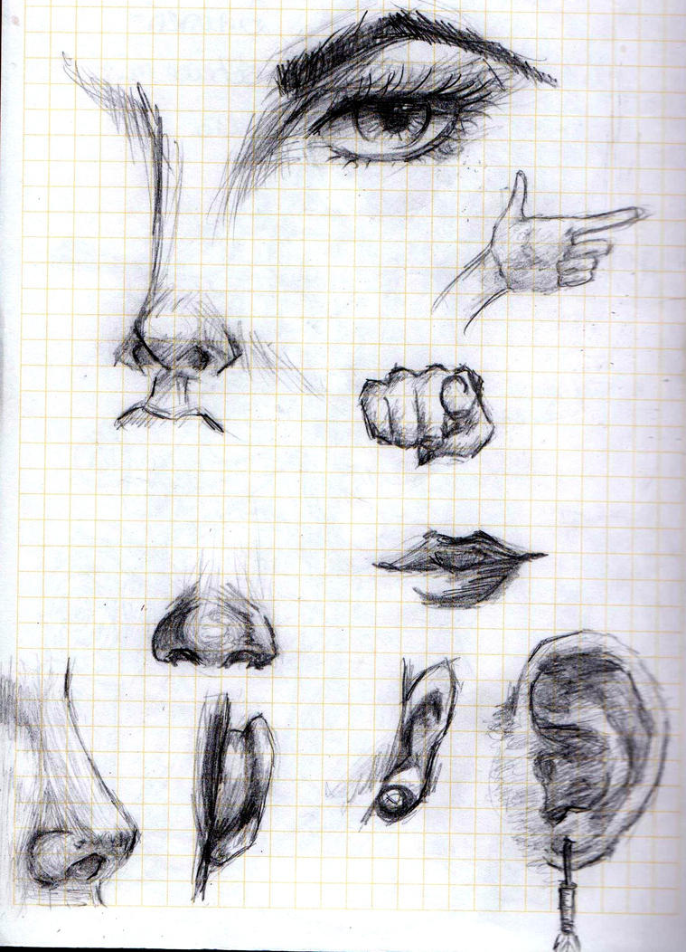 Eye, nose, mouth, hands by LuneDeLaNeige