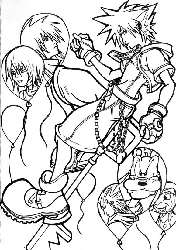 Kingdom Hearts Lineart : Kingdom hearts lineart by deathscent on deviantart