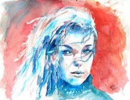 watercolour girl by psycopix
