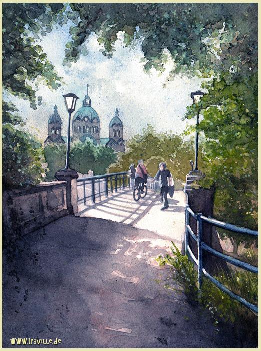 bridge in munich by Iraville