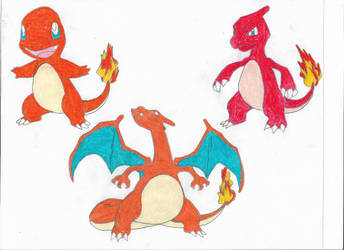 Charmander, Charmeleon and Charizard by Valyndris