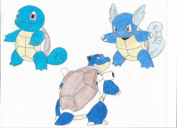 Squirtle, Wartortle and Blastoise by Valyndris