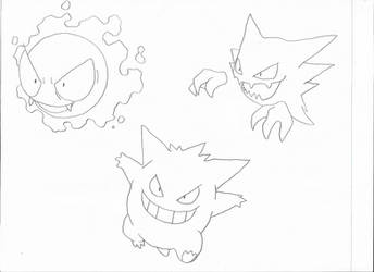 Gastly, Haunter and Gengar by Valyndris