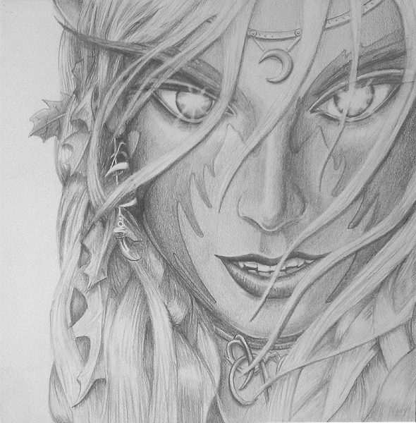 Nightelf druid pencil sketch by jessisixx