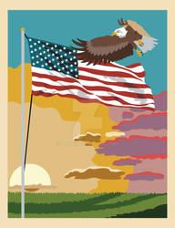 Eagle and Flag Back Cover Illustration