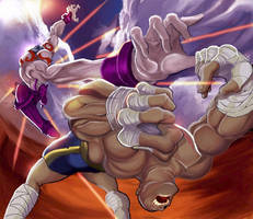 Street fighter Necro Vs Sagat by Arzuza
