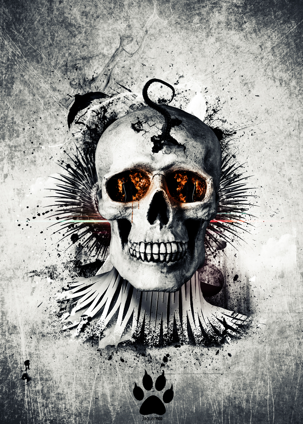 Skull In fire by JaguarProd