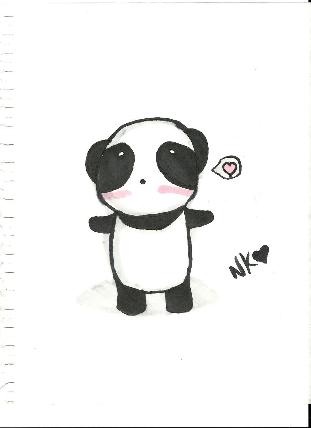 Panda Drawing On Paper With Copics by nekokitty54321Drawing Of A Cute Panda