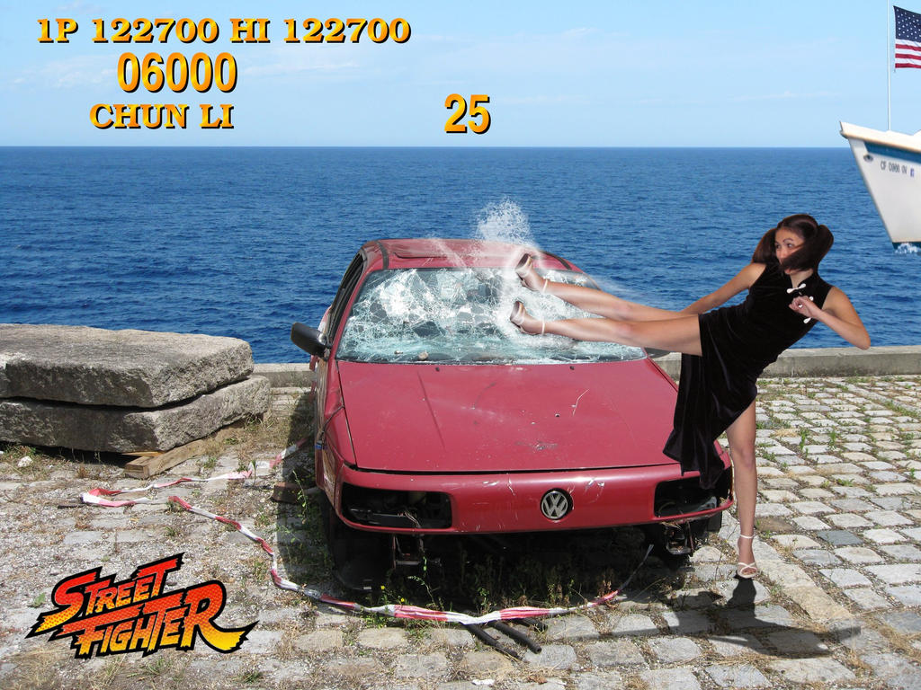 Real Street Fighter Breaking Car by Gimper53
