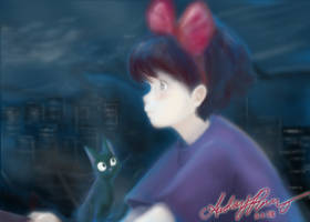 Kiki flies by moonlight by Yunyin