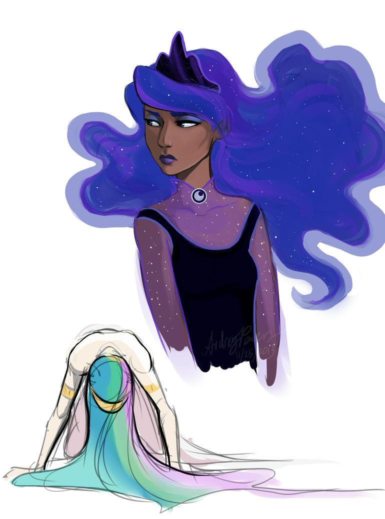 Human Luna and Celestia sketch by Yunyin on DeviantArt