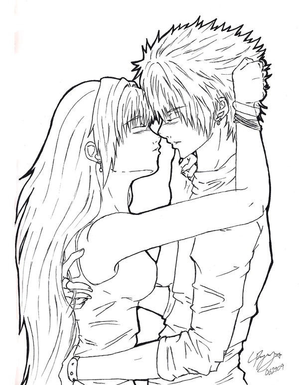 Anime Characters Kissing Drawing : Kiss lineart by garibenrock on deviantart