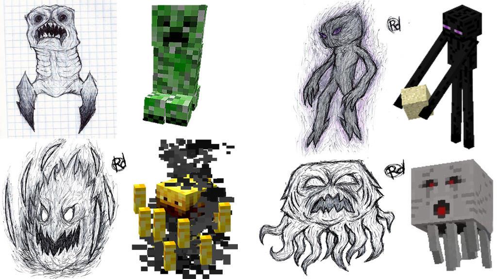 Рисунки майнкрафт карандашом всех мобов