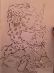 Miraculous Ladybug Sketch: LB and CN by WritingwithHearts