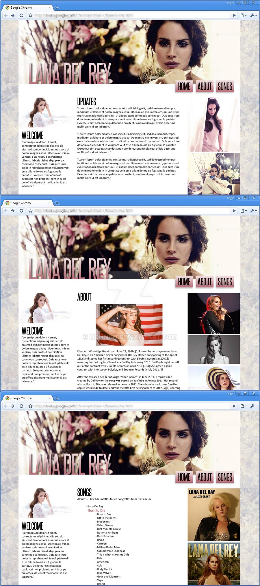 Lana Del Rey web design by HONNUH