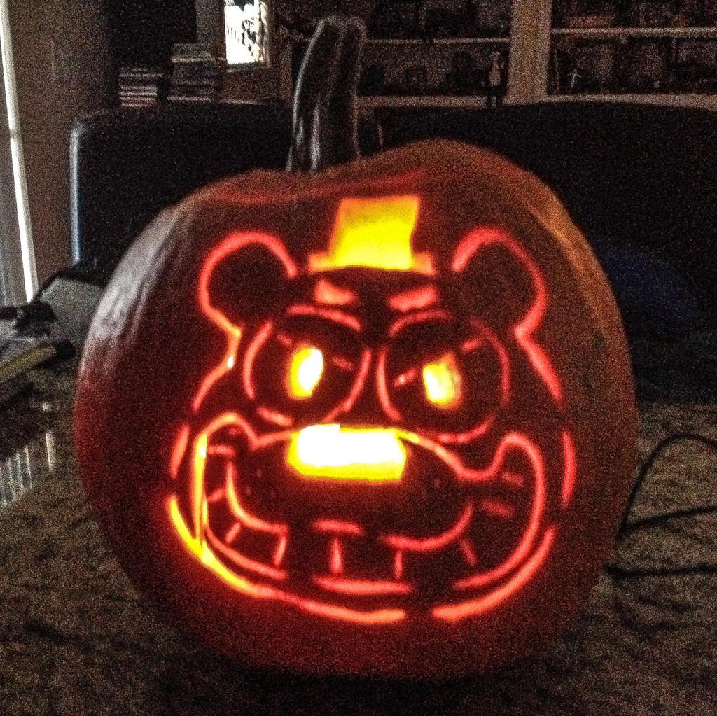 Freddy fazbear pumpkin carving by kriztian draws on deviantart