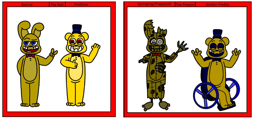 The history of golden freddy and springtrap by kriztian draws on